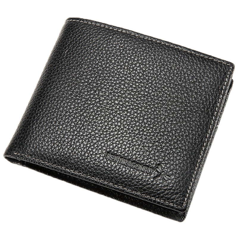 USD 34.74] Red dragonfly wallet men\'s short paragraph leather men\'s ...