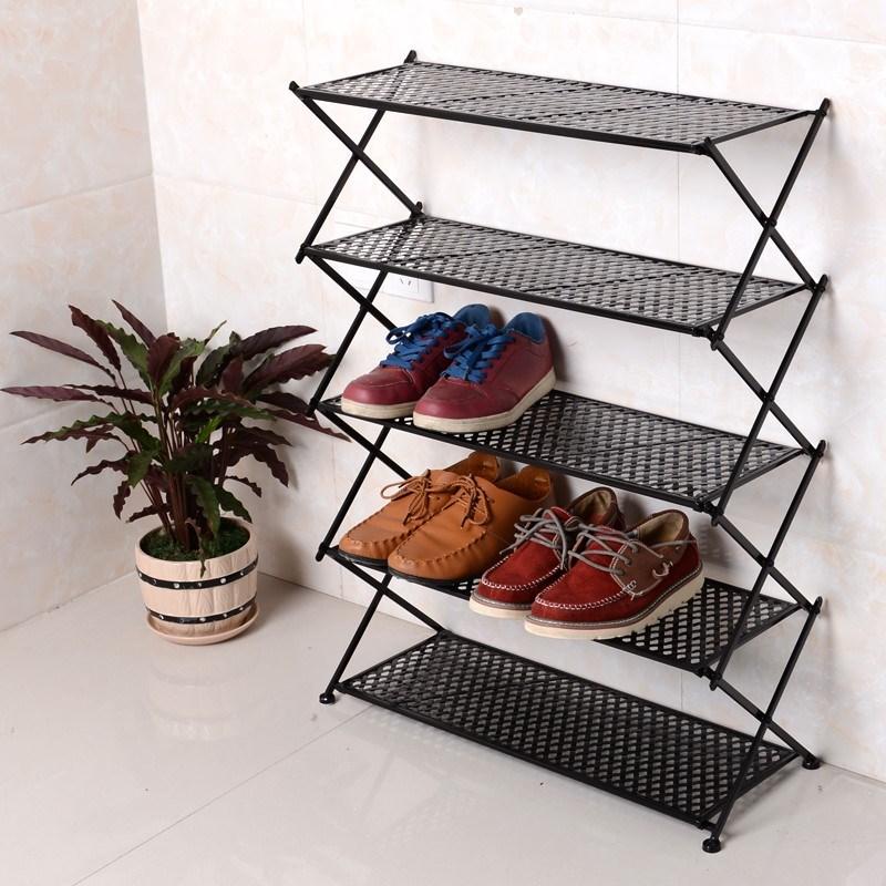 鞋架铁艺折叠简易家用现代鞋柜迷你小号超窄小型门口单人多层金属