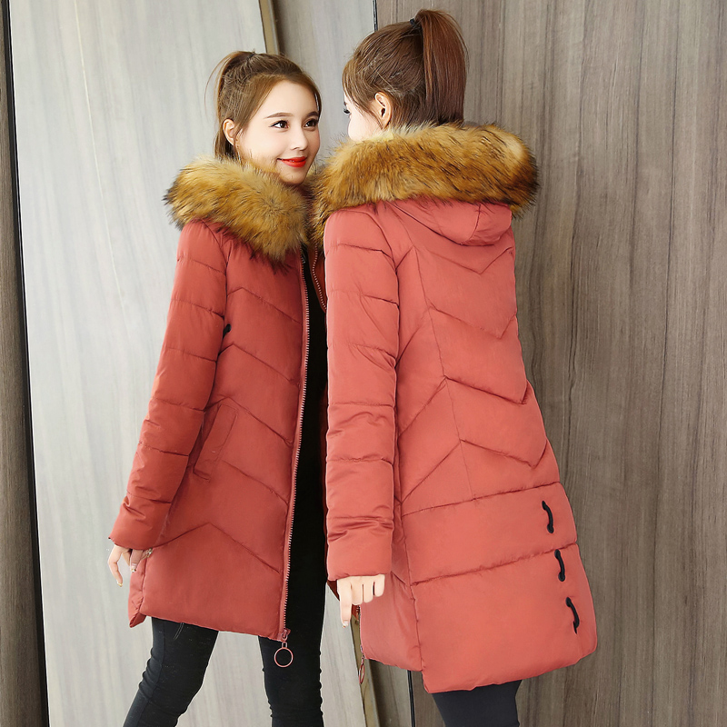 冬季棉袄女2018新款反季韩版修身中长款棉衣加厚羽绒棉服冬天外套