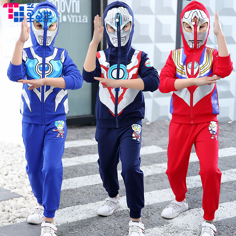 Ultraman clothes boys autumn boy suit 3 spring and Autumn Season 4 handsome 5 Spider-Man 6 years old Korean version of children's clothing tide