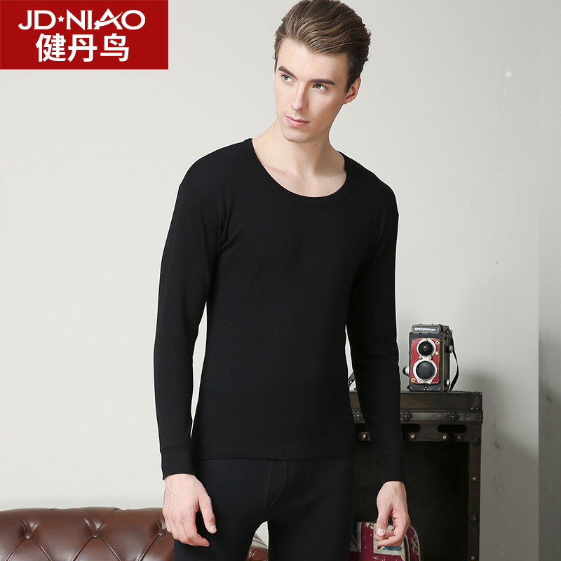 Jian Dan bird men's thermal underwear cotton round neck youth qiuyi qiuku V-neck winter thin cotton sweater suit