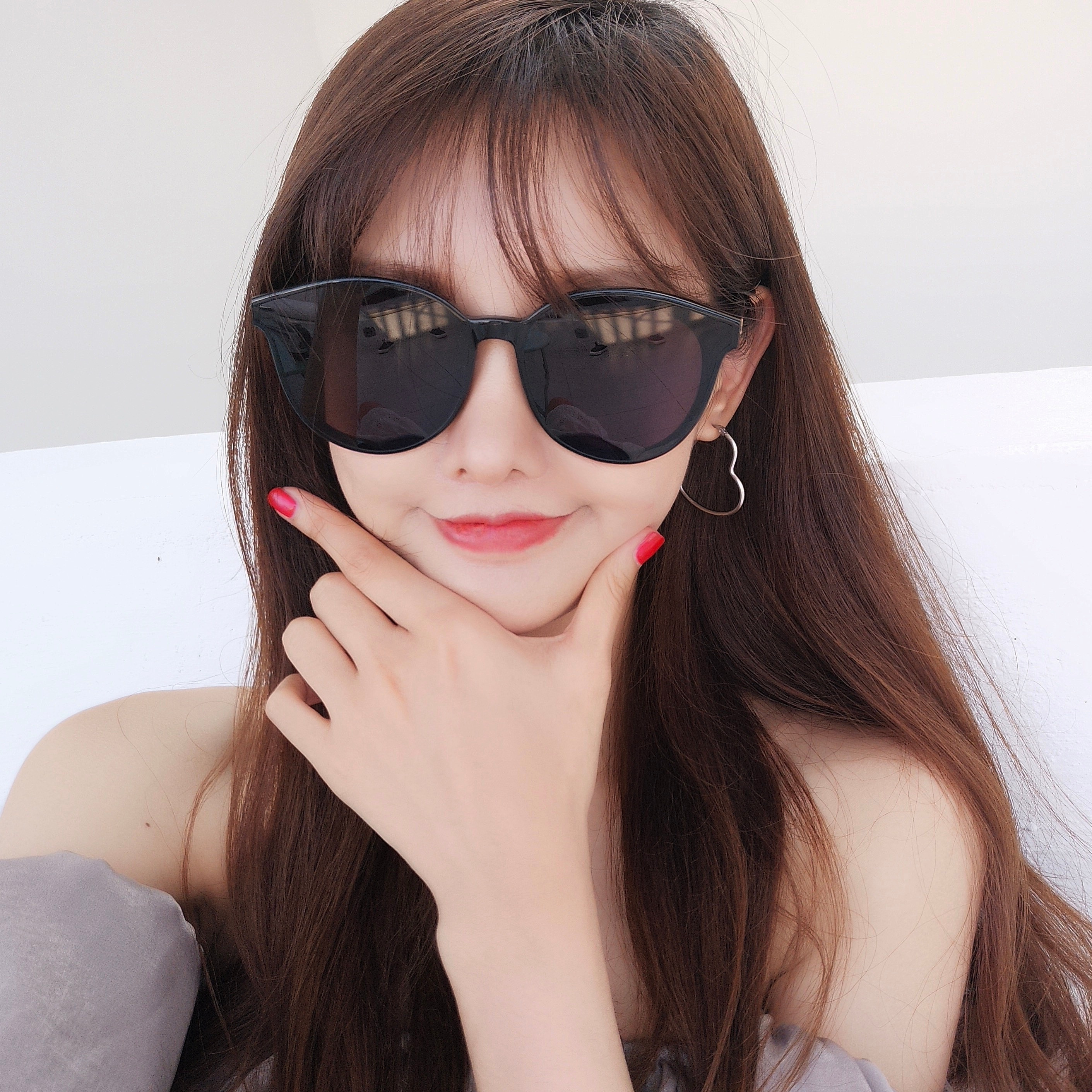 2018 spring and summer retro round black frame sunglasses female Korean version of the thick frame wild couple leopard sunglasses tide