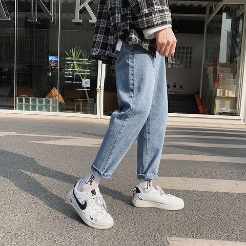 2020春季款直筒九分牛仔裤男潮牌宽松老爹裤男士牛仔长裤韩版潮流