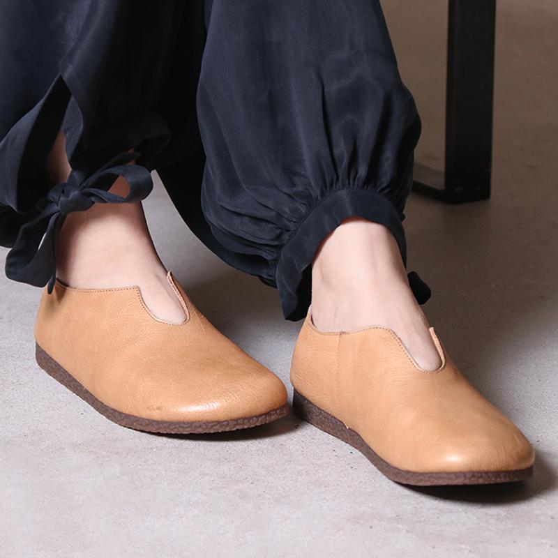 Giày nữ chay nguyên bản mới mùa xuân và mùa hè phong cách retro văn học thủ công bằng da bò nữ giày đế thấp đế bằng - Giày cắt thấp