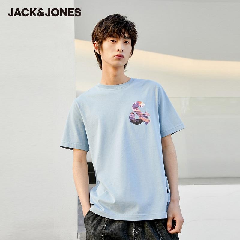杰克琼斯2021夏季新品 纯棉情侣男女潮流简洁薄款多色美式短袖T恤