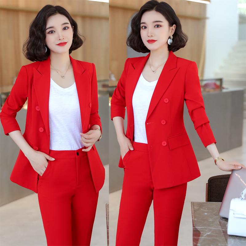 职业女裤套装秋冬新款韩版修身气质时尚红色双排扣长袖小西装外套
