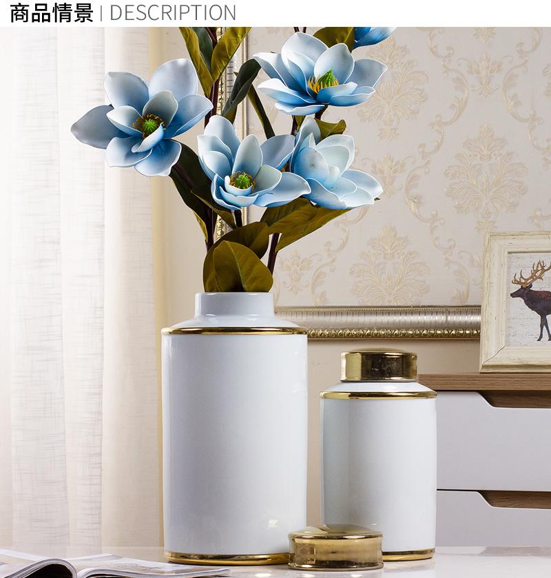 Jingdezhen European - style light piggy bank vase furnishing articles of key-2 luxury living room simulation flower flower arranging dried flowers, ceramic home decorations