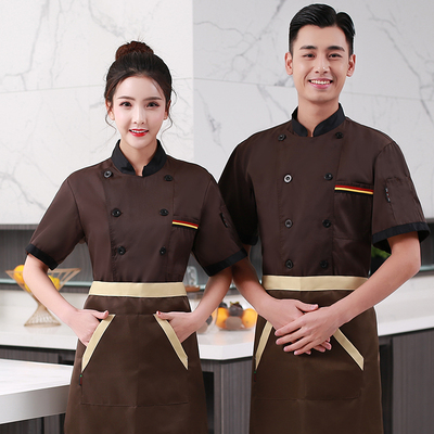 Chef overalls Chef workwear short sleeve Summer Hotel Restaurant Chef wear short sleeve breathable thin kitchen work clothes men and women