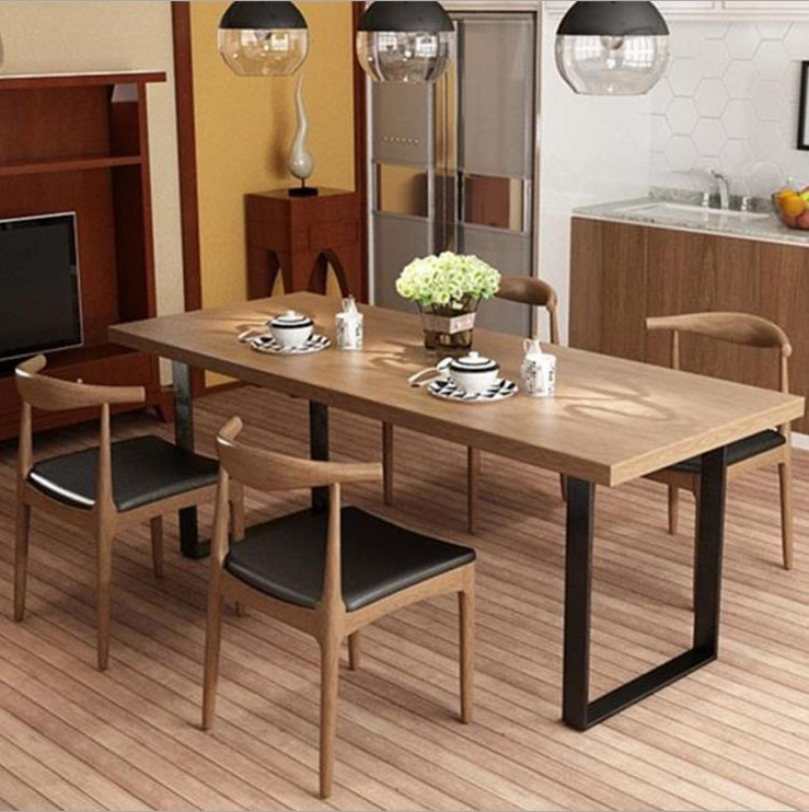 European Style Iron Dining Table Solid Wood Dining Table And Chair Modern Simple Old Dining Table Rectangular Living Room Home Office Desk