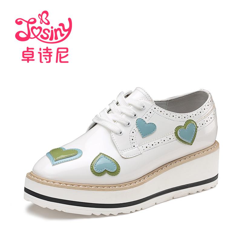 Josiny/卓诗尼新款漆皮单鞋松糕厚底卡通甜美系带女鞋112713403