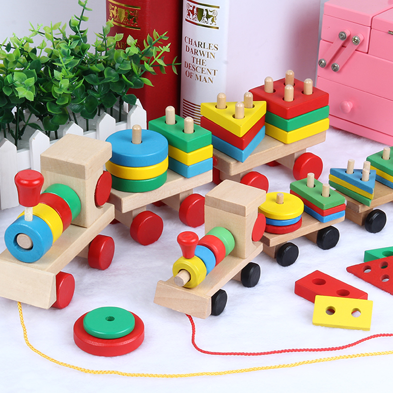 Blocks Wooden Block Toys Four-column Geometric Shapes Matched With Childrens Early Education Intelligent Toys Children Montessori Toy