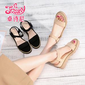 【卓诗尼】坡跟凉鞋复古平底女鞋