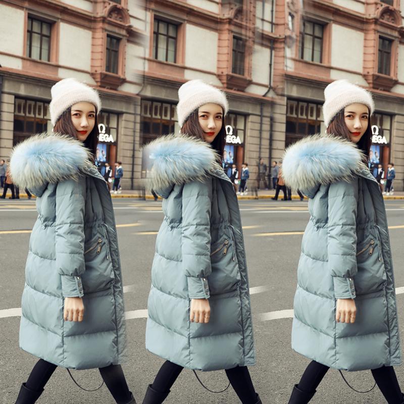 2019新款反季外套韩版大毛领羽绒服女中长款收腰加厚冬装过膝女装