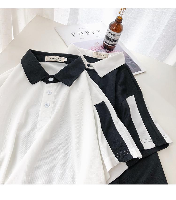 Hồng Kông phong cách ngắn tay polo áo sơ mi nam Harajuku phong cách bf mùa hè sinh viên ins các cặp vợ chồng trang trí cơ thể sọc ve áo T-Shirt xu hướng áo polo đẹp
