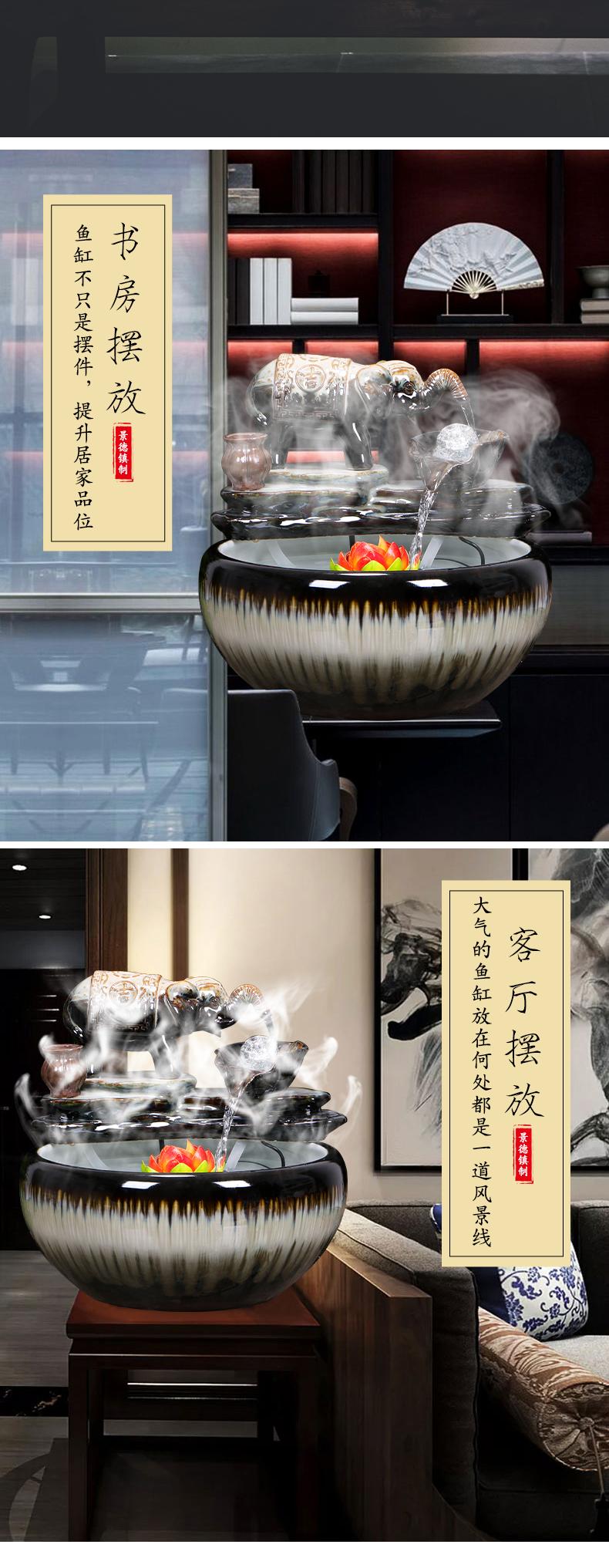 Jingdezhen ceramic aquarium water fountain creative small fish from cycle furnishing articles home sitting room a goldfish bowl