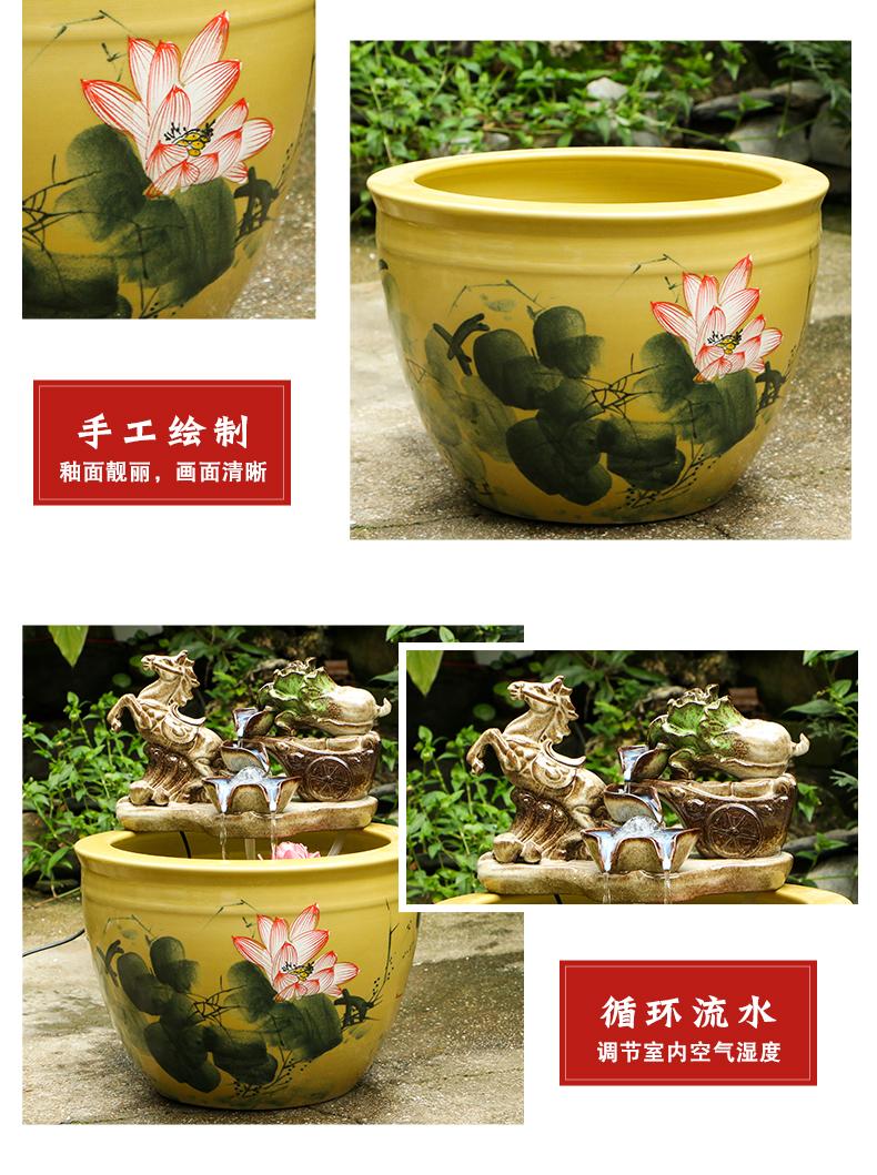 Jingdezhen ceramic goldfish bowl sitting room floor balcony office home furnishing articles circulating water courtyard big fish tank