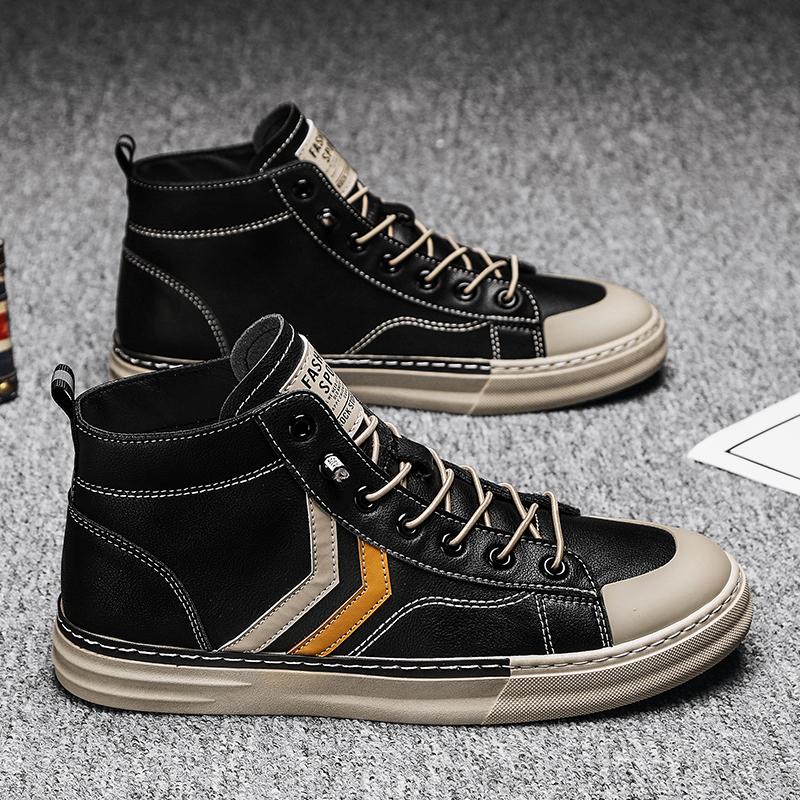 Осень мужская обувь корейский высокий обувной мужчина 2020 новый тенденция мартин сапоги мужчина черный случайный помощь обувь