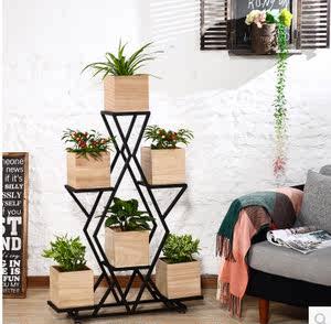 铁艺花架多层落地式阳台花盆架美式客厅简约吊兰实木花架几花架子