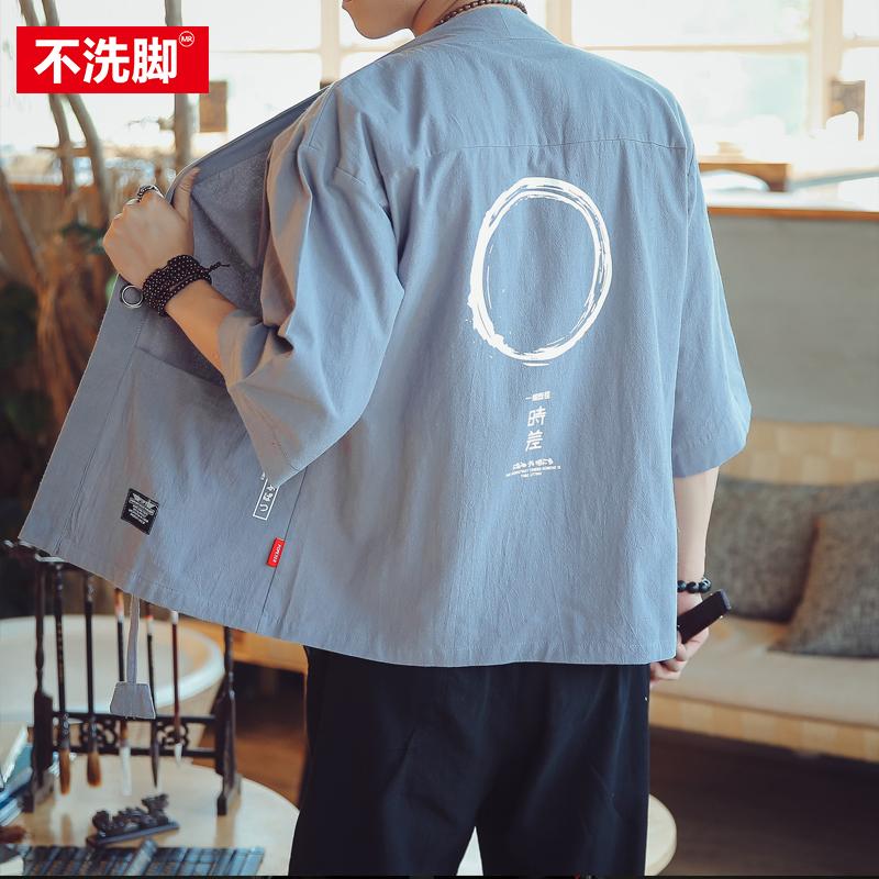 中国风和风男和服汉服道袍开衫七分袖防晒衣夏季日式短袖薄外套潮