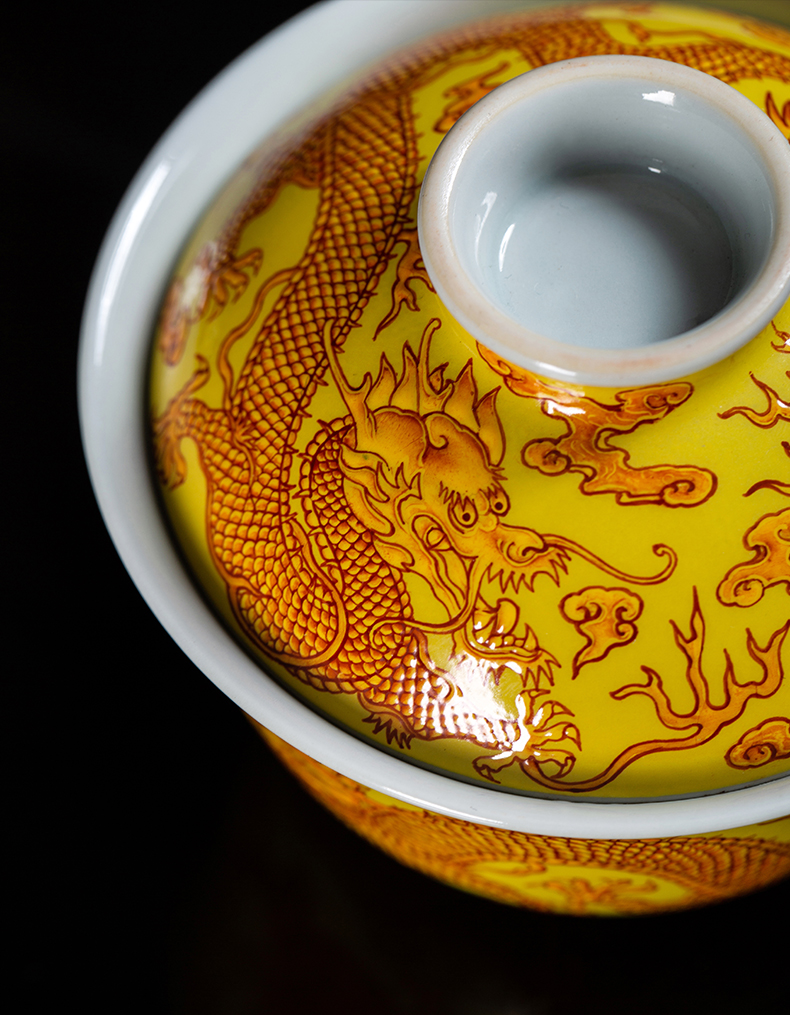 Clock at jingdezhen up the set of kung fu tea set manually yellow colored enamel lumbricus grain set tea service office to receive a visitor