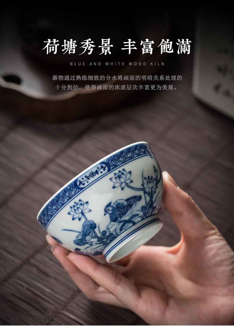 Clock kung fu tea house up with jingdezhen blue and white maintain master cup single cup all hand girlfriend ceramic cups