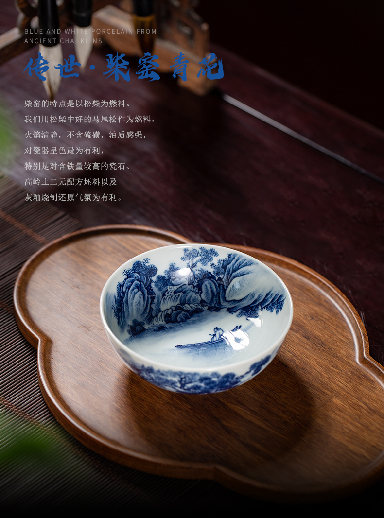 Maintain clock home up jingdezhen blue and white heavy manual hand - made landscape master cup with triangle flowers pattern circle master cup single CPU