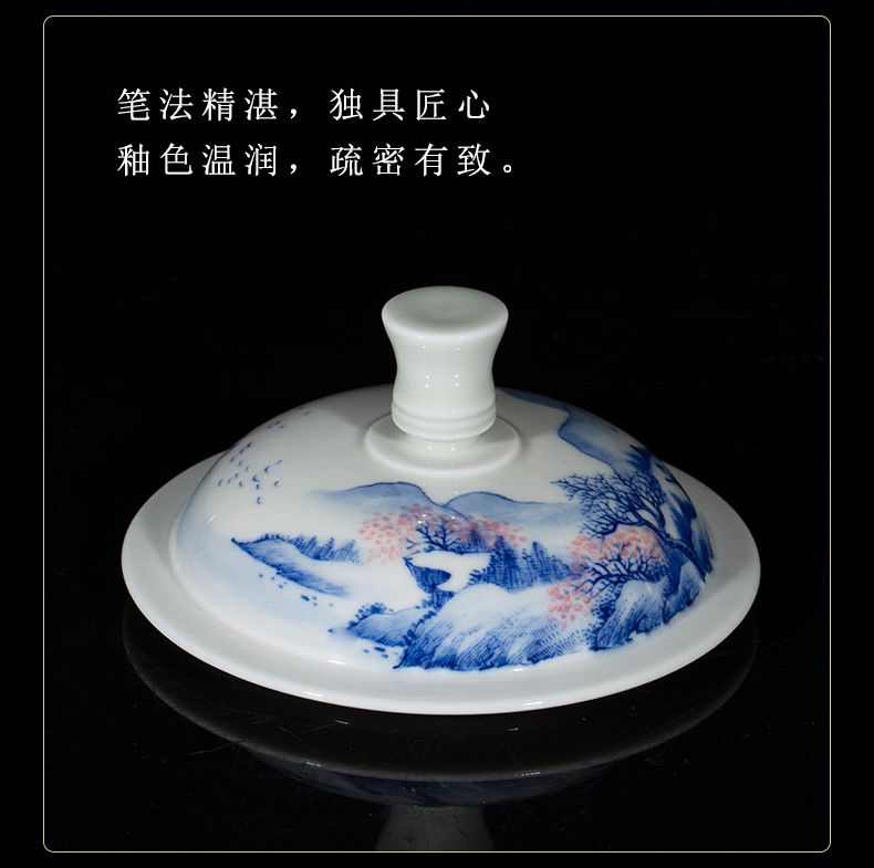 Clock home up porcelain maintain landscape office cup with cover of jingdezhen ceramic tea cup glass office tea cup