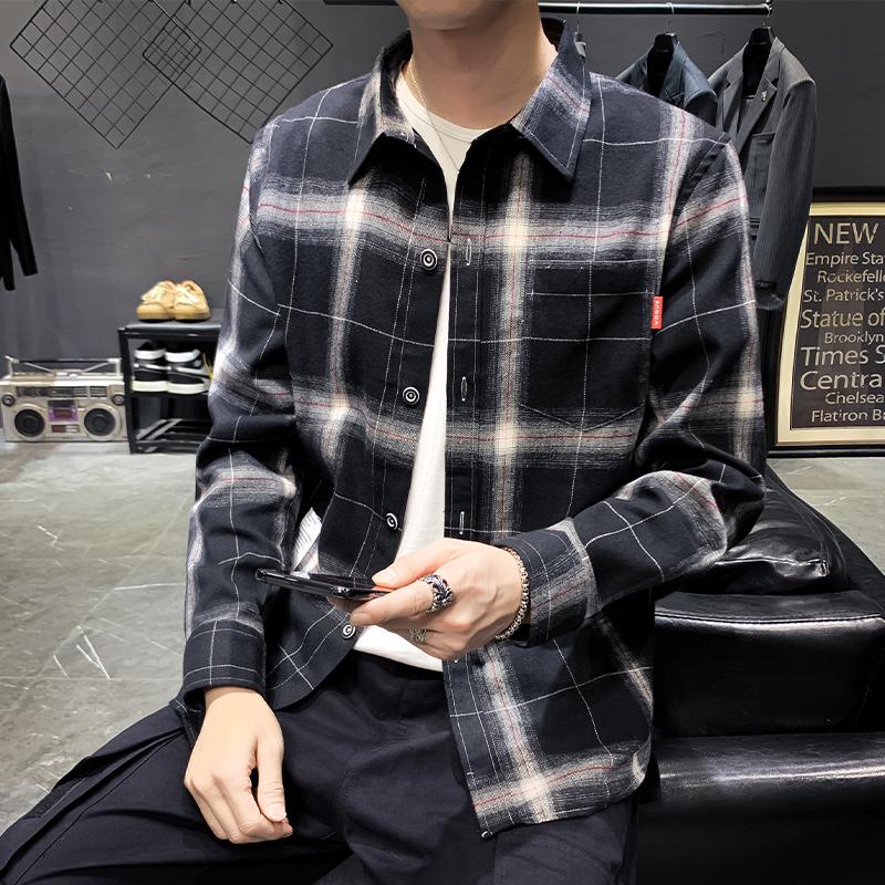 衬衫男2019秋款长袖韩版潮流衬衣格子衫上衣秋装男士衬衫