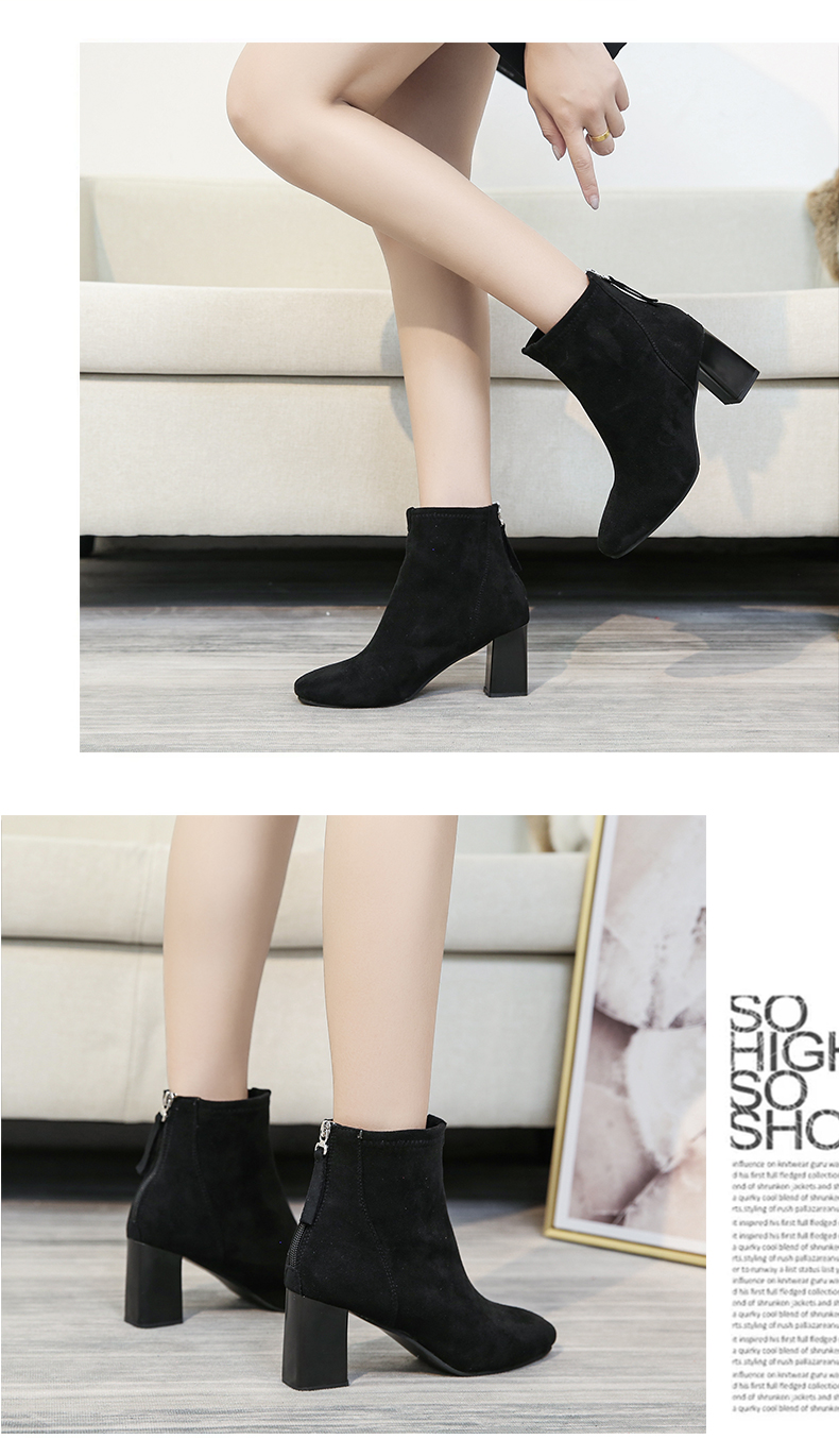 High-heeled small boots women's 2020 new thick-heeled velvet plus velvet thin Martin autumn and winter cotton shoes 56 Online shopping Bangladesh