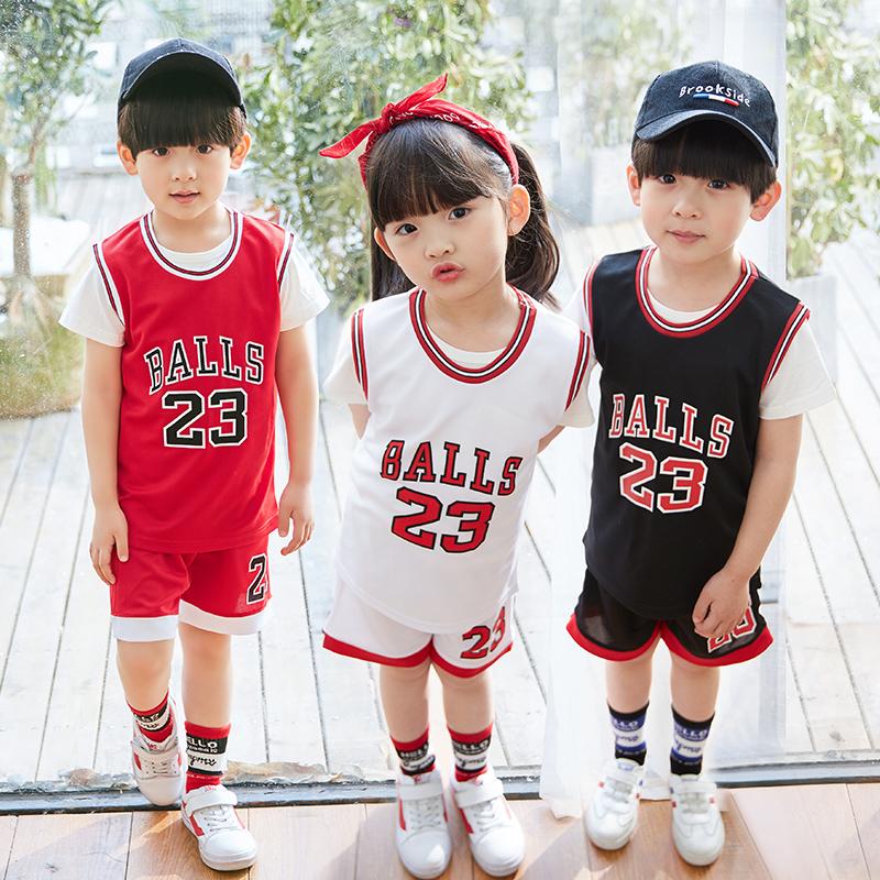 男孩球衣服儿童宝宝篮球男童蓝女童定制中小学生套装幼儿园v男孩服