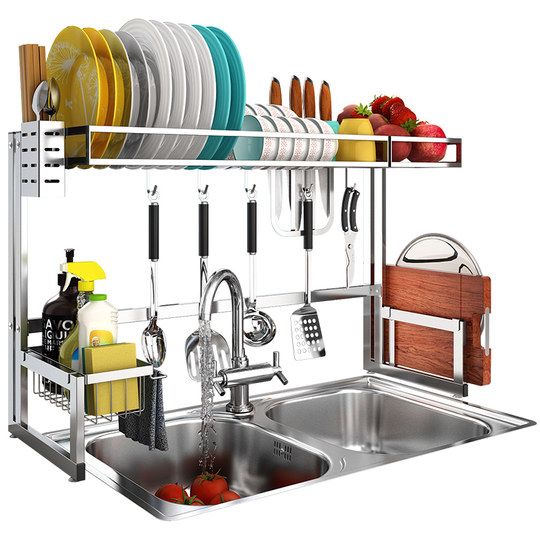 Kitchen rack stainless steel sink top three drainage pool bowl saucer kitchen tableware set a bowber