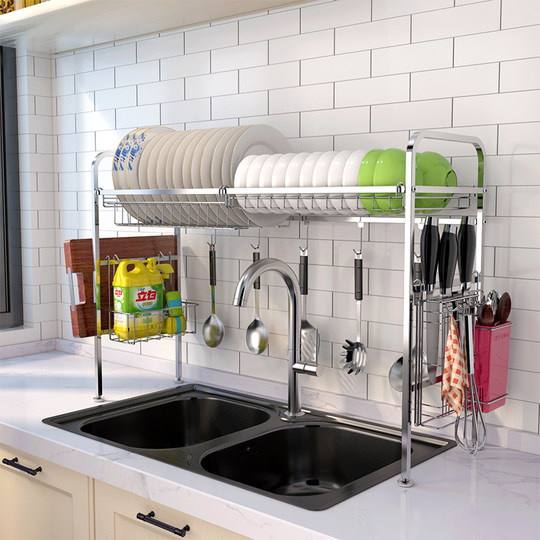 304 stainless steel dish rack drain rack above the sink kitchen rack sink to dry dishes and chopsticks storage rack