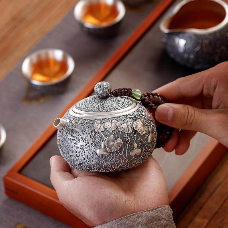 乔师傅手工 银壶纯银999泡茶壶家用茶道西施壶银茶壶功夫足银茶具