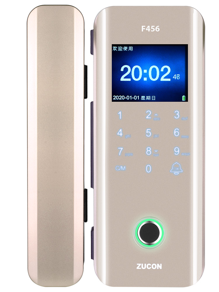ZUCON F456辦公室玻璃門指紋鎖免開孔密碼鎖雙門免布線電子門禁系統鎖