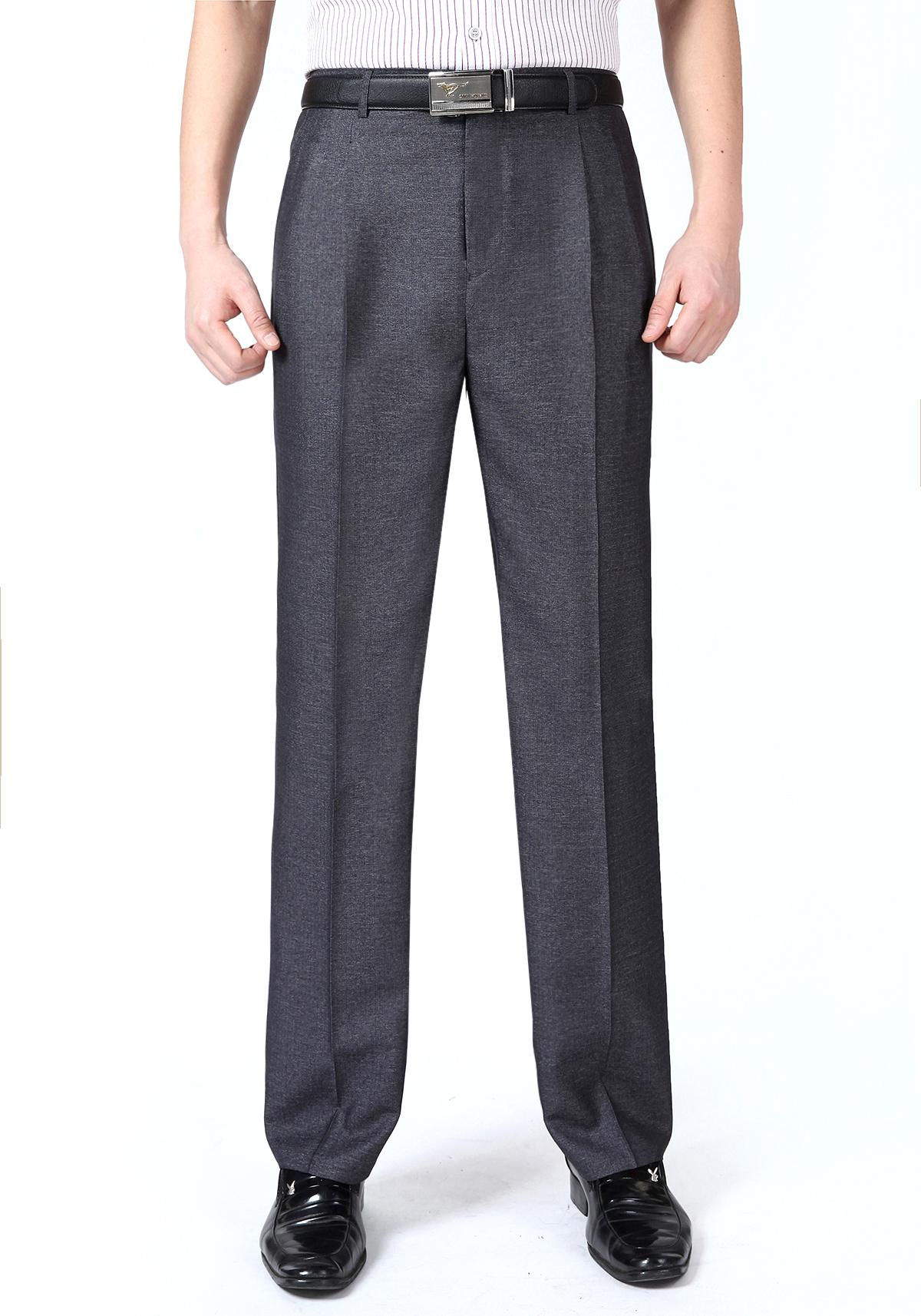 Mùa hè phần mỏng giữa và tuổi già đôi quần xếp li nam cộng với phân bón XL eo cao sâu tập tin lỏng phù hợp với quần chất béo quần nam