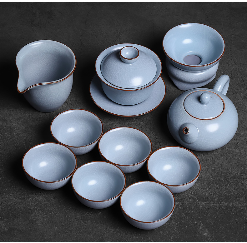 Azure your up kung fu tea set suit xi shi pot of slicing can be a gift boxes your porcelain crack of a complete set of quality goods