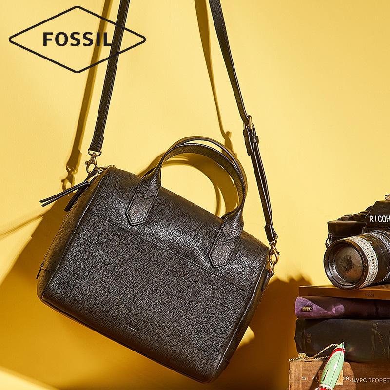 杨紫同款 Fossil化石波士顿包舒适牛皮手提单肩斜挎包
