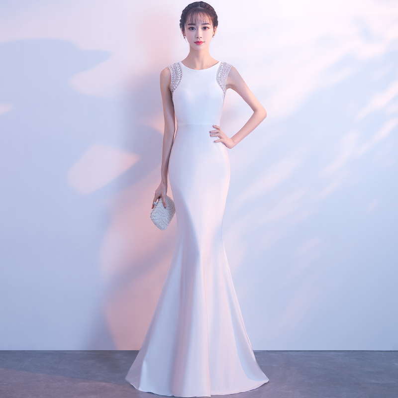 White evening dress women's temperament banquet noble fishtail skirt annual meeting evening drag long long host simple and generous
