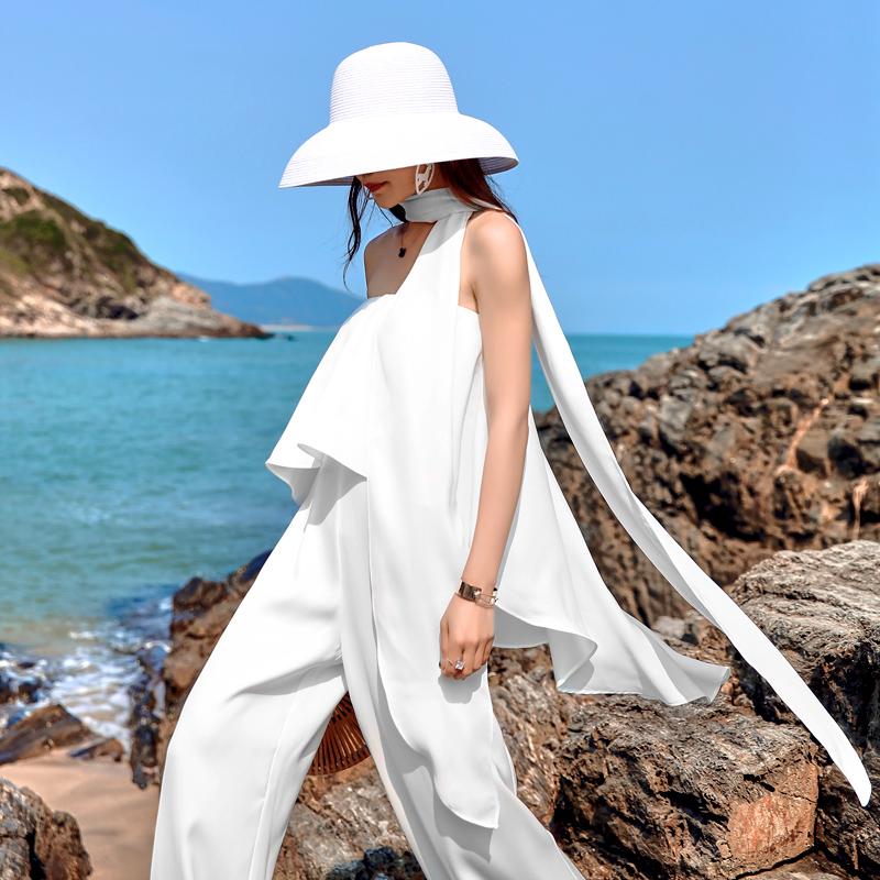 抹胸气质裤女夏2020新款沙滩裙裤高腰阔腿连体裙海边v抹胸连衣年会