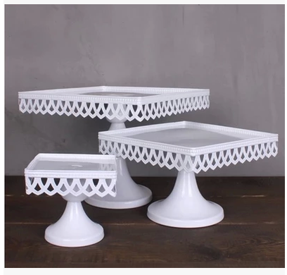 3 Size European Style Wedding Table Square Cake Stand Iron Tall Cake Fruit Tray Lace Single & 3 Size European Style Wedding Table Square Cake Stand Iron Tall Cake ...