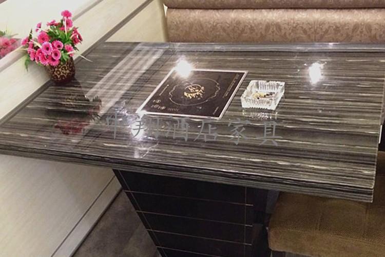 火锅桌大理石火锅店桌椅电磁炉火锅桌长方圆桌子大理石定做