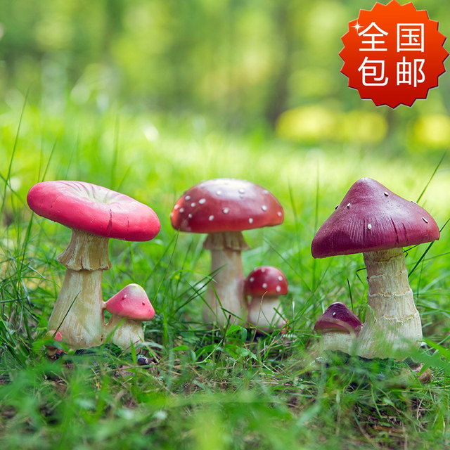 Garden gardening sketches landscape decorations creative home lawn flower pot resin crafts simulation mushroom ornaments