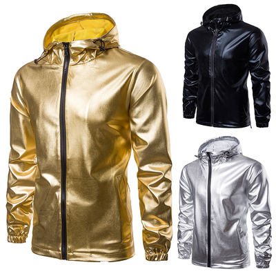 Solid color gilding fabric hooded men's jacket casual jacket