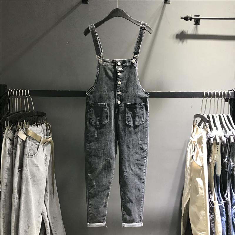 Châu Âu mùa thu 2020 giảm tuổi mới là quần denim đơn ngực mỏng quần yếm nữ chân lỏng lẻo - Quần jean