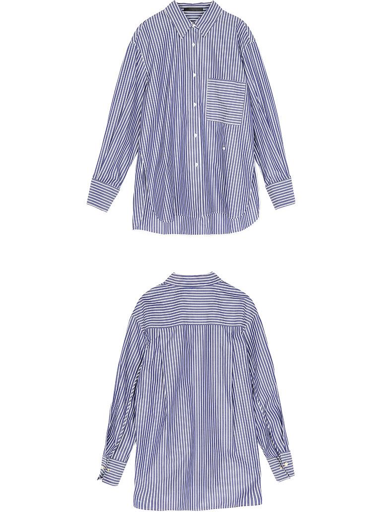 Phiên bản màu xanh và trắng sọc áo mùa thu lỏng ve áo dài tay ngọc trai khóa EA173SHT102 moco