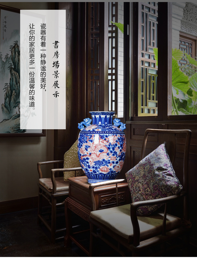 Jingdezhen ceramics youligong antique Chinese blue and white ears vase classical home sitting room adornment is placed