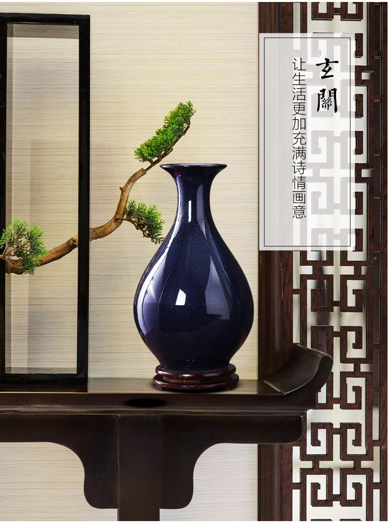 Jingdezhen porcelain ceramic up blue vase flower arranging place of new Chinese style household living room TV cabinet decoration
