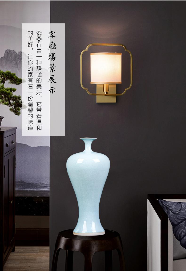 景德镇陶瓷器钧瓷窑变雪花蓝色花瓶梅瓶中式客厅插花家居饰品摆件