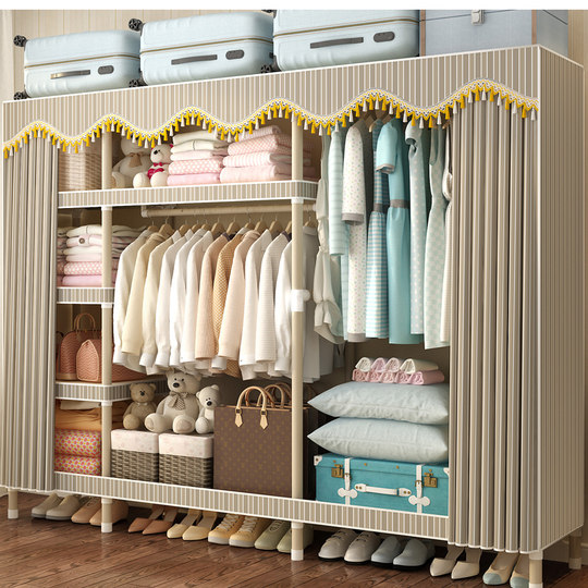 Simple wardrobe cloth wardrobe hanging closet housing steel reinforcement thickening thick steel cloth assembled whole wardrobe cloth
