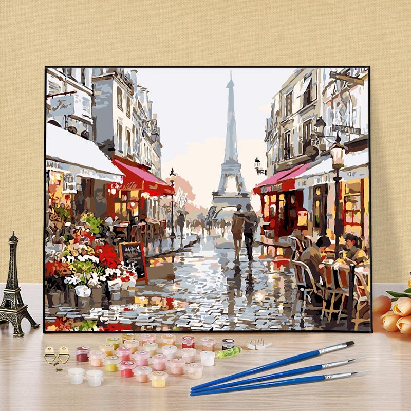 diy数字油彩画客厅风景数码油画填色画成人手工画装饰画涂色壁画
